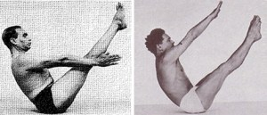 Iyengar demonstrating navasana (boat pose) on the left and Pilates demonstrating Teaser on the right