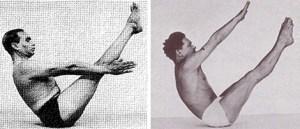 Iyengar demonstrating navasana (boat pose) on the left and Pilates demonstrating Teaser on the right